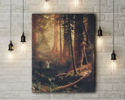 Bierstadt, Albert: Giant Redwood Trees of California. Fine Art Canvas.
